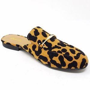 Qupid Shoes - NEW Camel Black Leopard Mule Ballerinas